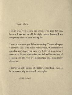 The one by Lang Leav