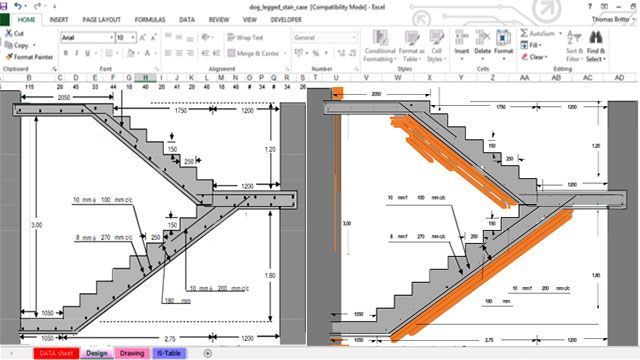 Spreadsheet for RCC Dog-legged staircase, is ensuing flights mainly