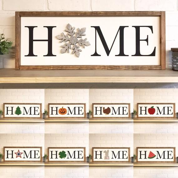 home decor signs #homedecor Full Set Home Cutout Framed Wood Sign, Custom Wall Hanging, Seasonal Home Decor, Interchangeable O,