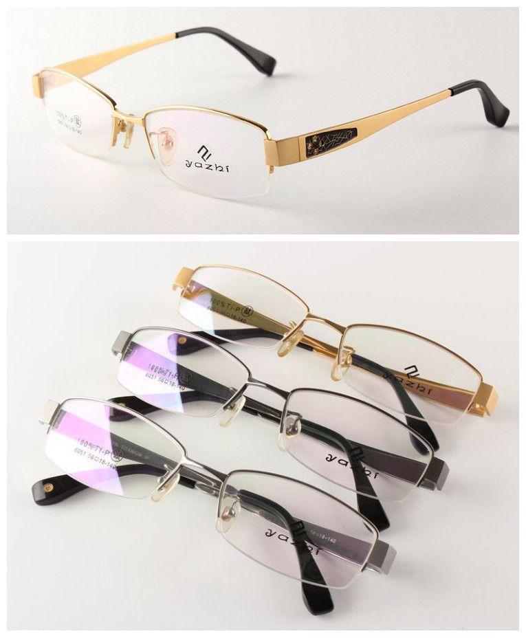 1b54a32a183 Click to Buy    100% Luxury Pure Titanium Eyeglass Frames Half Rimless