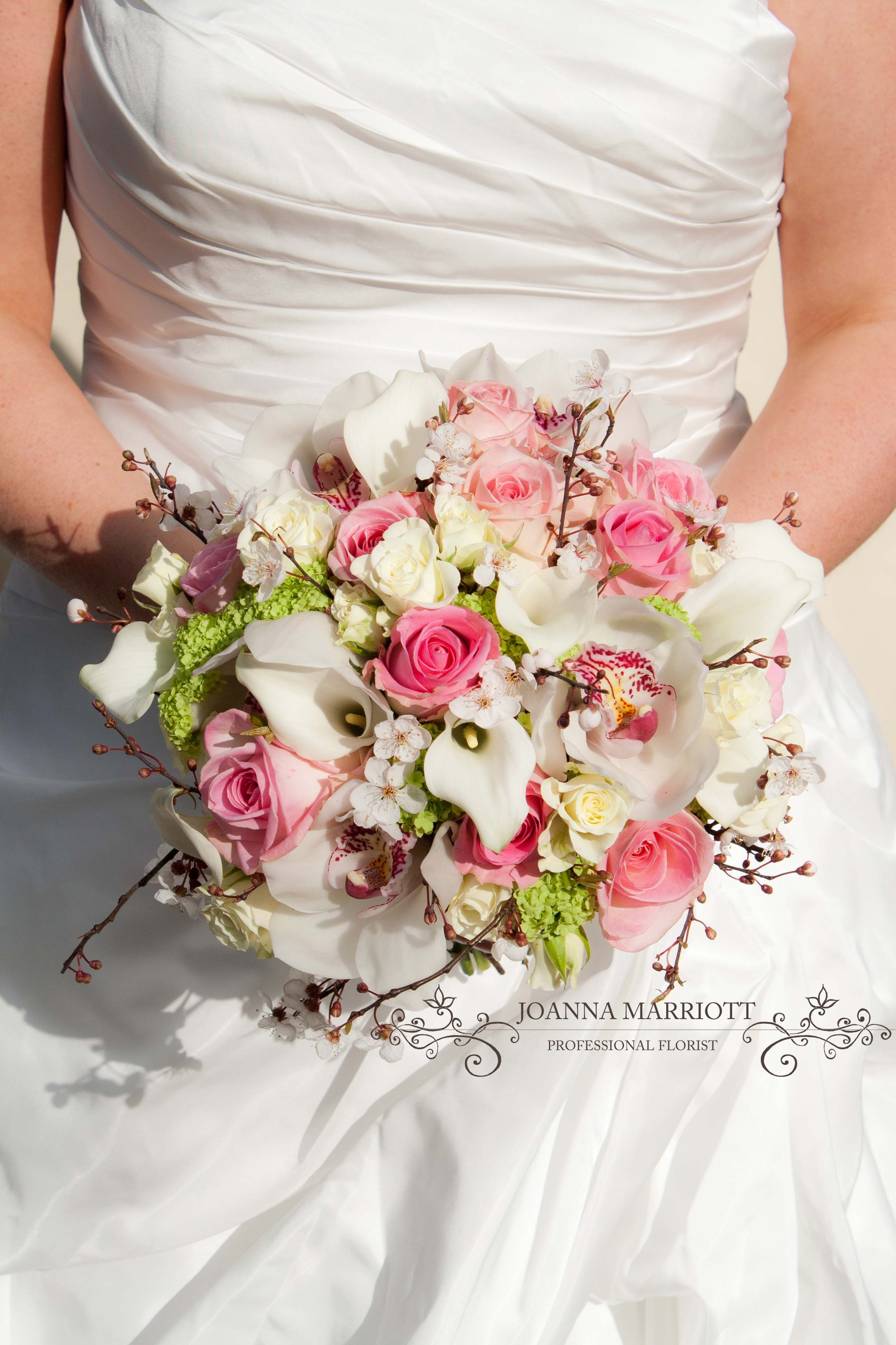 White Pink And Lime Green Bridal Bouquet Made Of Roses Calla Lilies