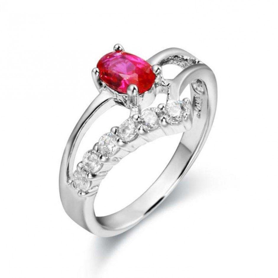 Fuchsia Oval Gemstone Cubic Zirconia Engagement Ring Wholesale China