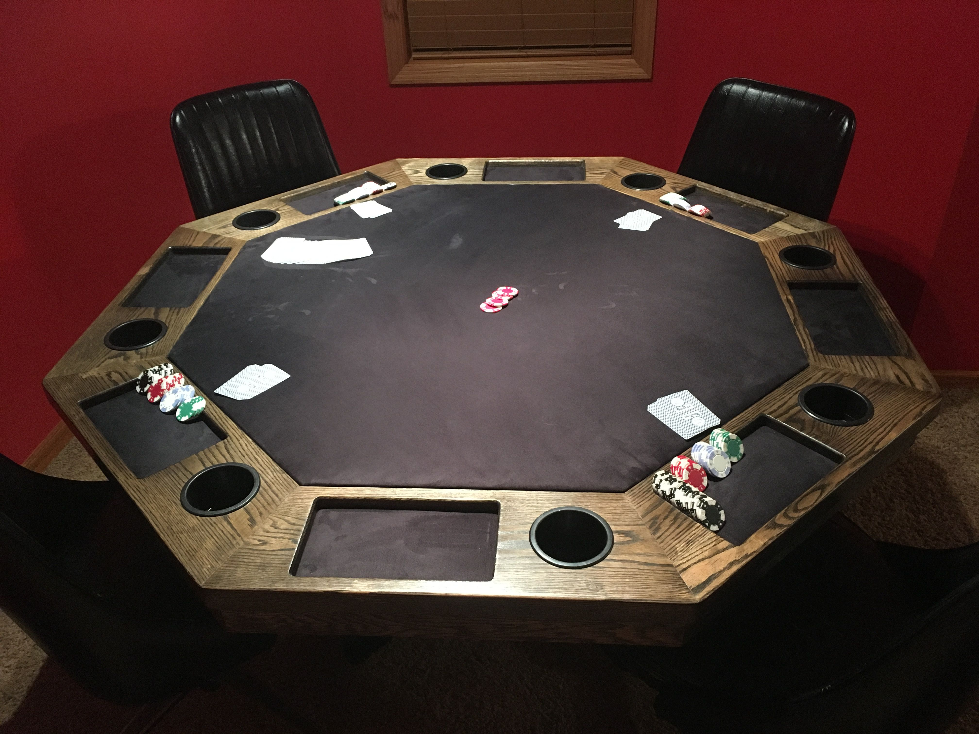 My Poker Table Oak Table That Sits 8 Comfortably Stained An Ebony Stain With Black Felt I Like The Looks Oak Table Poker Table Ebony