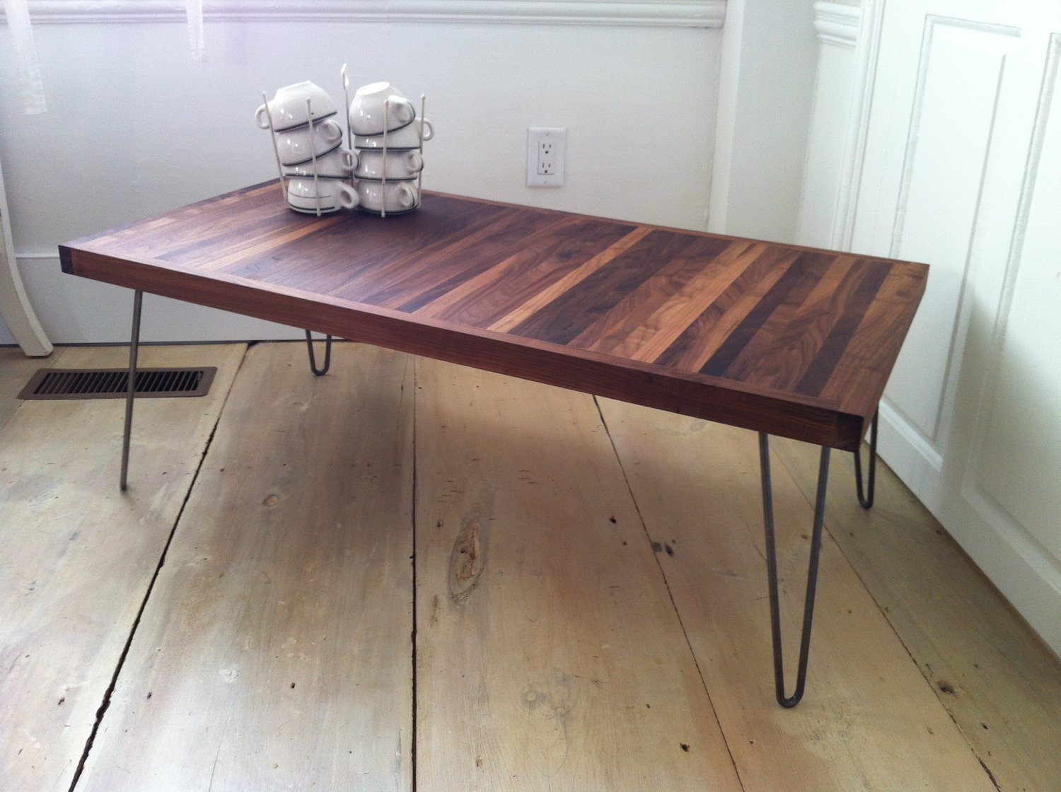 Mid Century Modern Contemporary Coffee Table Featuring Solid Walnut Top And Hairpin  Legs