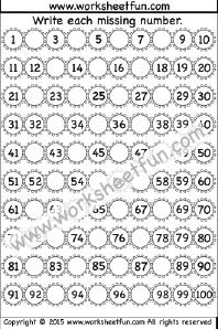 Missing Numbers - 1-100 - One Worksheet / FREE Printable ...