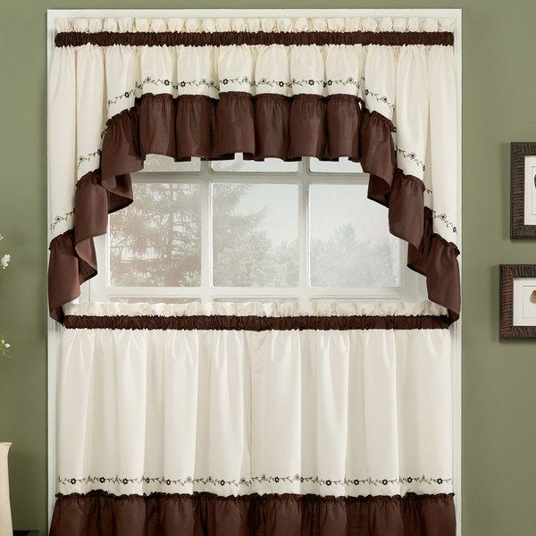 Pin Auf Accesorios Cortinas Persianas: Curtain White And Brown For Kitchen With Rustic Style