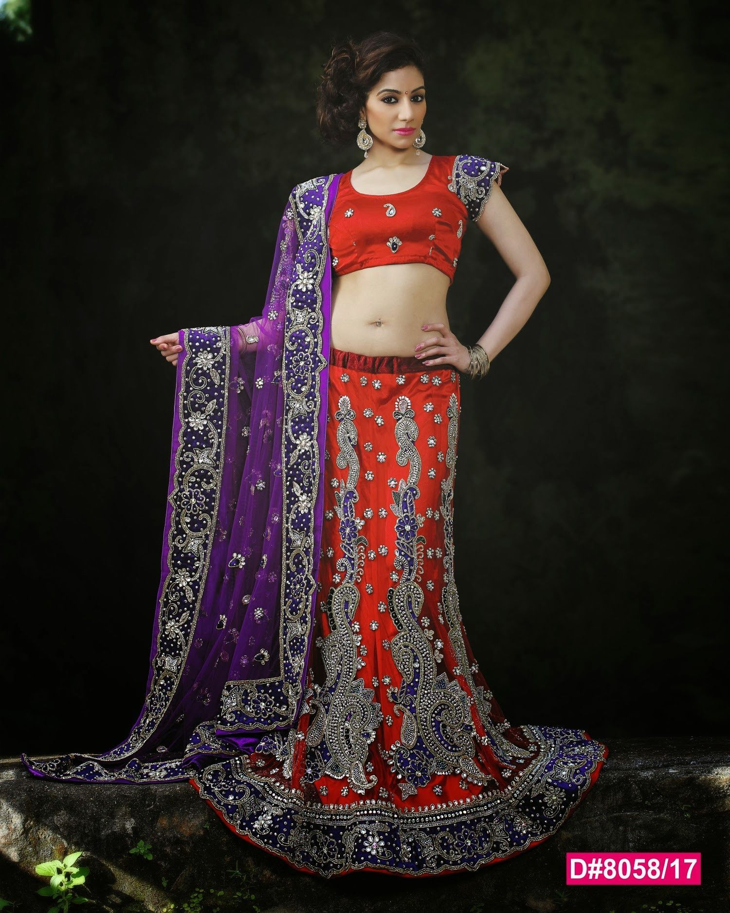 e9f5b0b233 Red & Purple Indian Bridal Lehenga in 2019 | Women's fashion ...