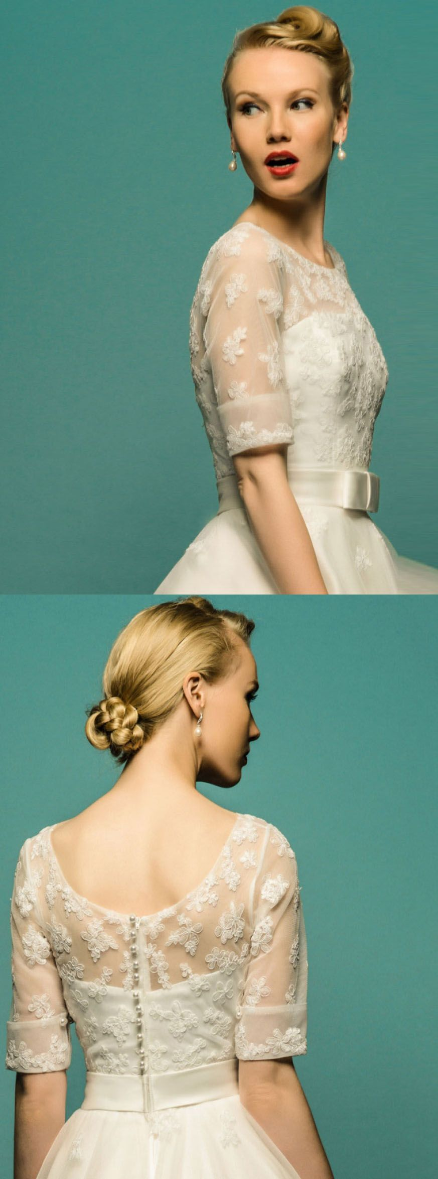 A-Line Tea-Length Scoop Neck Half Sleeve Appliqued Tulle Wedding ...