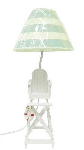 Amazon Com Lifeguard Chair Beach Summer Table Desk Lamp Sea Green White Shade Home Improvement Lifeguard Chair Summer Tables Beachy Room