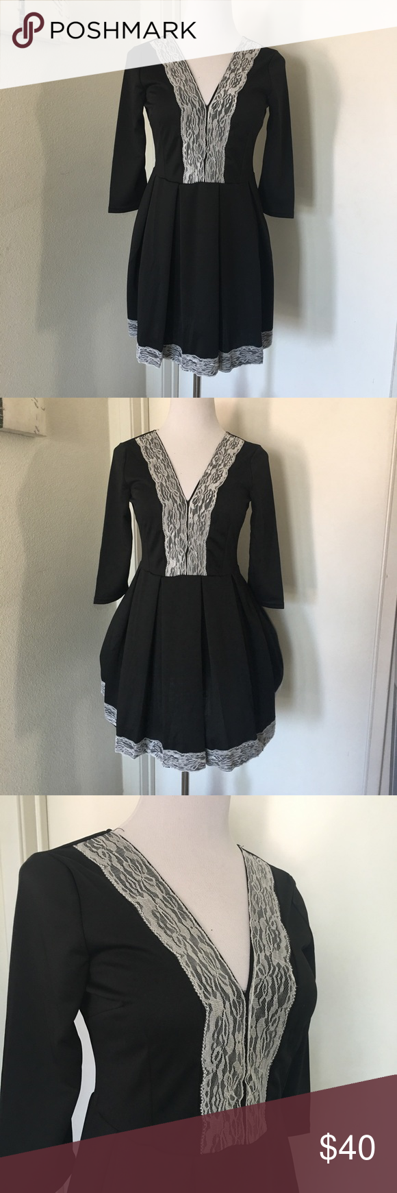 Deep V Neck Skater Dress Has a deep V neck. Solid in the back. Lots of flare! Overlay on the Skirt. Has some stretch Free People Dresses Mini