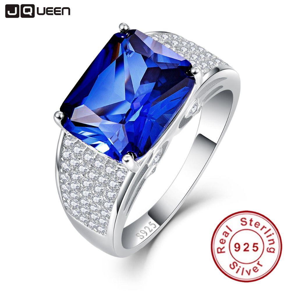 JQUEEN 3.6ct Rainbow Topaz Blue Sapphire Promise Wedding Band Engagement Ring 925 Sterling Silver MtTgV5uN