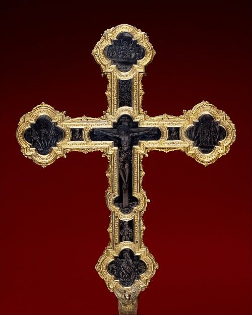 Processional Cross -- ca. 1460–80 - made in Florence, Italy - Partly gilt silver, niello, and copper with traces of gilding, over wood