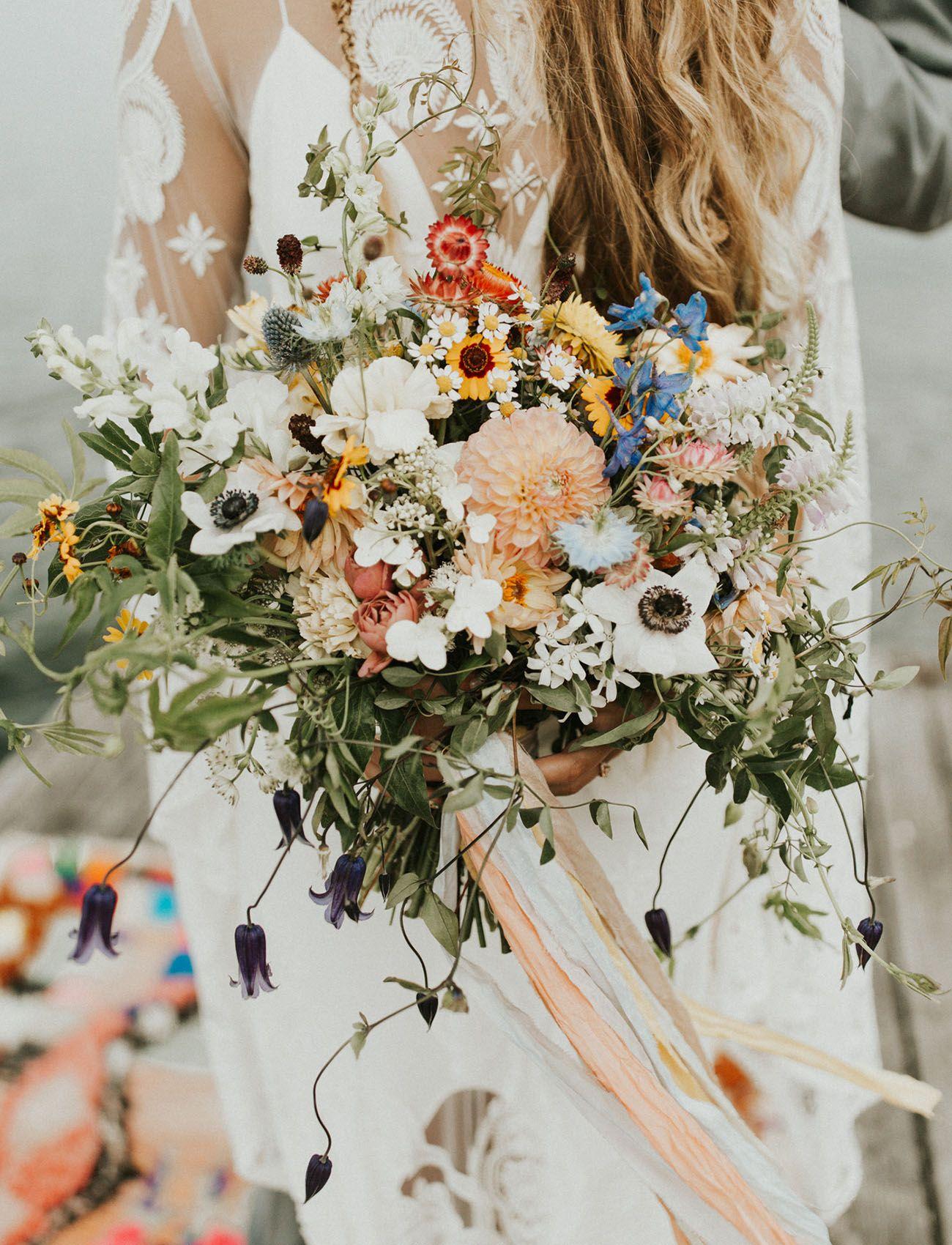 Boho Wildflower Vibes At This Lakeside Wedding In Washington In 2021 Boho Wedding Bouquet Boho Wedding Flowers Wildflower Wedding