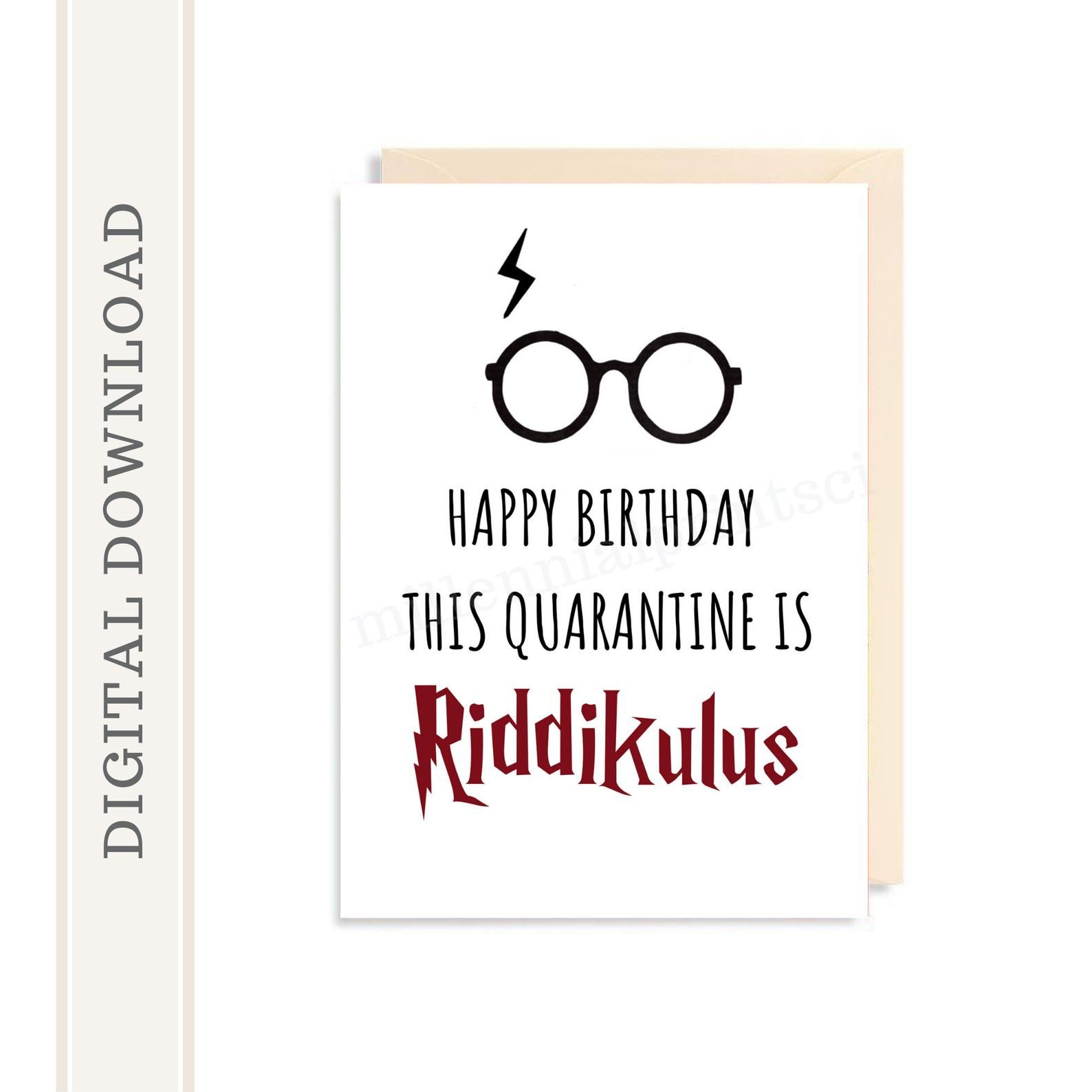Printable Harry Potter Riddikulus Spell Birthday Card Diy Digital Download Design Feat Harry Potter Birthday Cards Harry Potter Cards Harry Potter Birthday