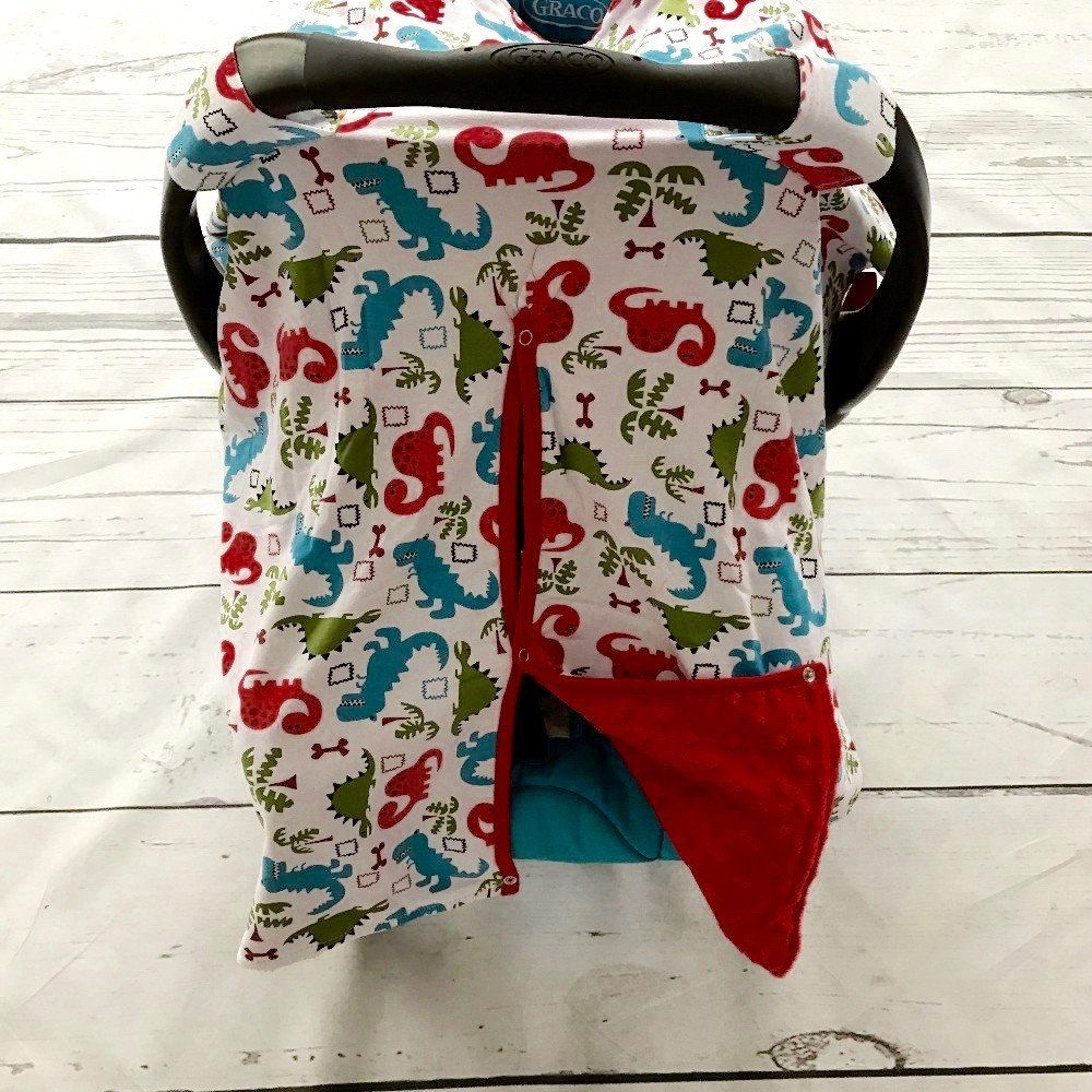 Dinosaur Minky Canopy Cover For Infant Carseat Baby Boy Carseat