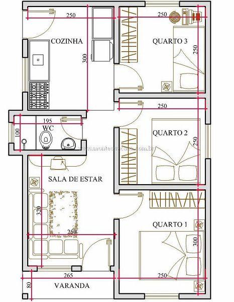 Muy peque a casa de tres dormitorio y 44 metros cuadrados for Planos para casas gratis