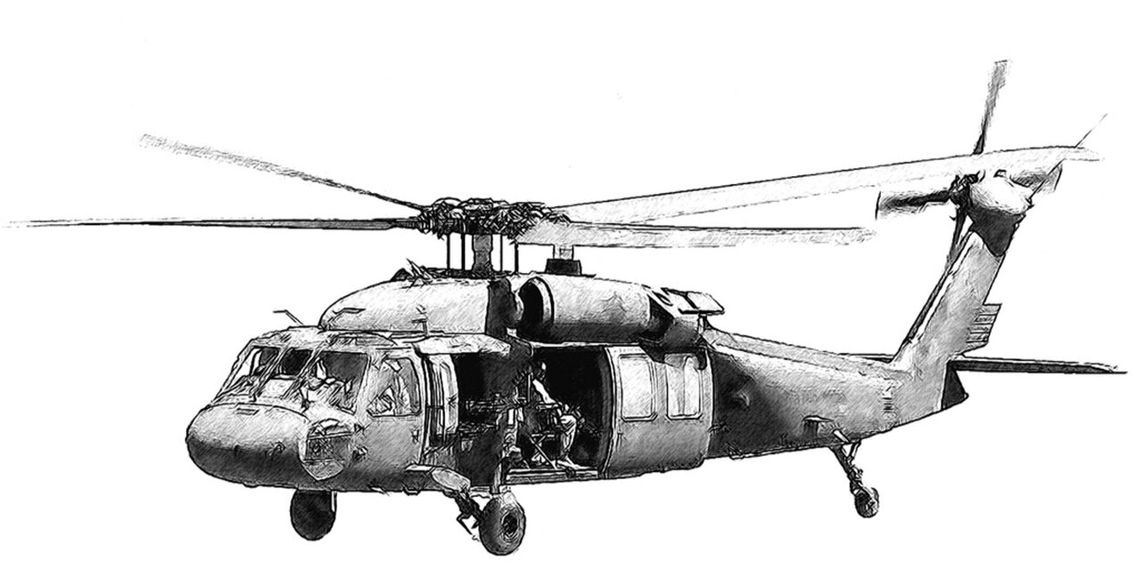 Computer generated drawing of a UH-60 Black Hawk
