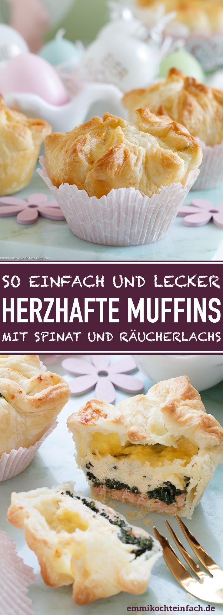 Herzhafte Muffins mit Spinat und Räucherlachs - emmikochteinfach