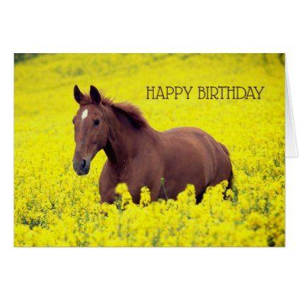 Brown Horse Happy Birthday Greeting Card Zazzle Com Happy