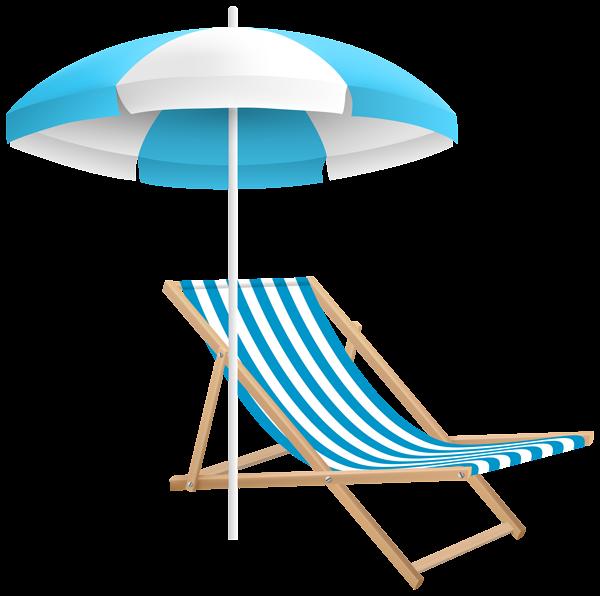 Beach Chair and Umbrella PNG Clip Art Transparent Image