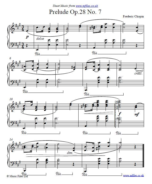 Frederic Chopin Prelude Op 28 No 7 In A Piano Sheet Music