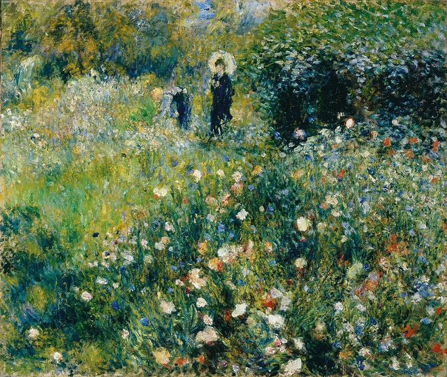 Pierre Auguste Renoir Woman With A Parasol In A Garden 1875 Renoir Paintings Pierre Auguste Renoir Impressionism Painting