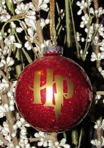 this harry potter inspired glitter christmas ornament is the perfect christmas tree addition for any harry potter fanmake it extra special by customizing - Harry Potter Christmas Decorations