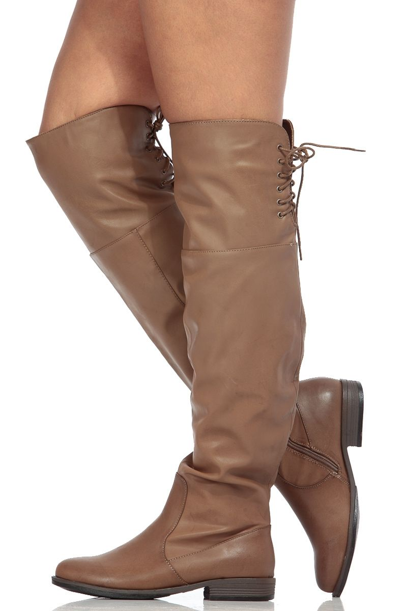 22910dc782a Taupe Faux Leather Knee High Horse Back Riding Boots   Cicihot Boots Catalog women s  winter