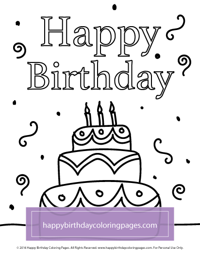 free birthday cake coloring page happy birthday coloring pages