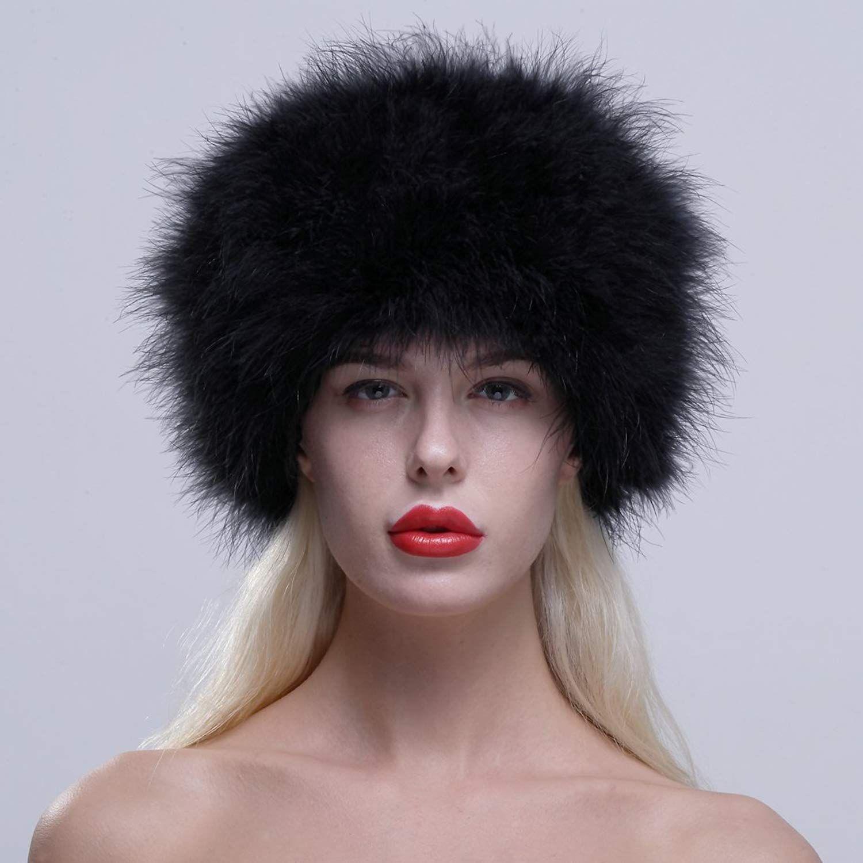 7681f51a407 URSFUR Women Winter Fur Cap Genuine Ostrich Feather Fur Pill Box Hat  Multicolor