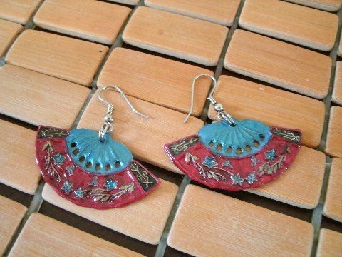 Up Cycled Hand Painted Fan Ear Rings    Pierced