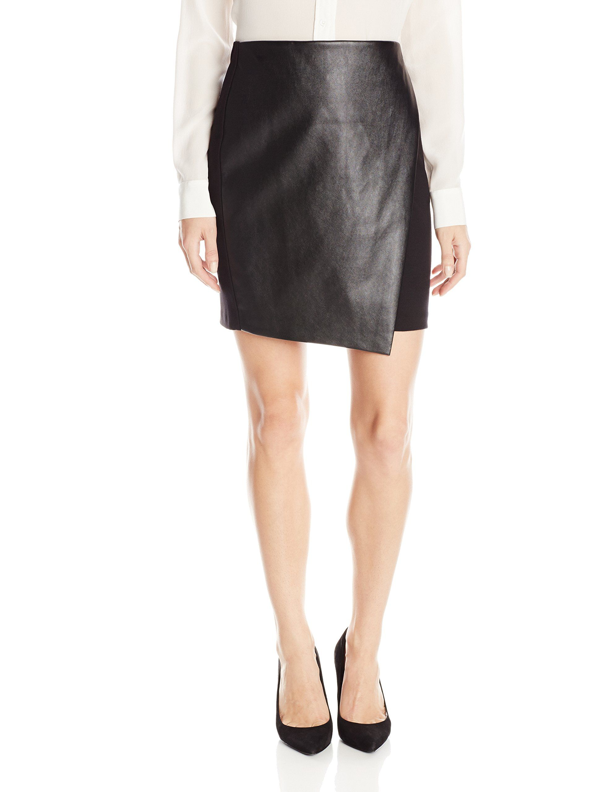 DKNYC Women's Pull On Skirt with Faux Leather, Black, X-Small