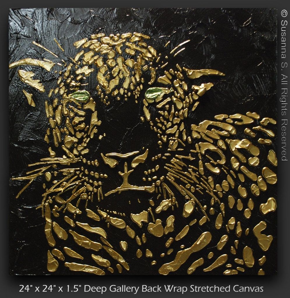 Original Abstract Leopard Painting Black Gold Art Large Cat Home Decor Metallic Modern Palette Knife Textured Made2order By Susa Leopard Painting Art Painting