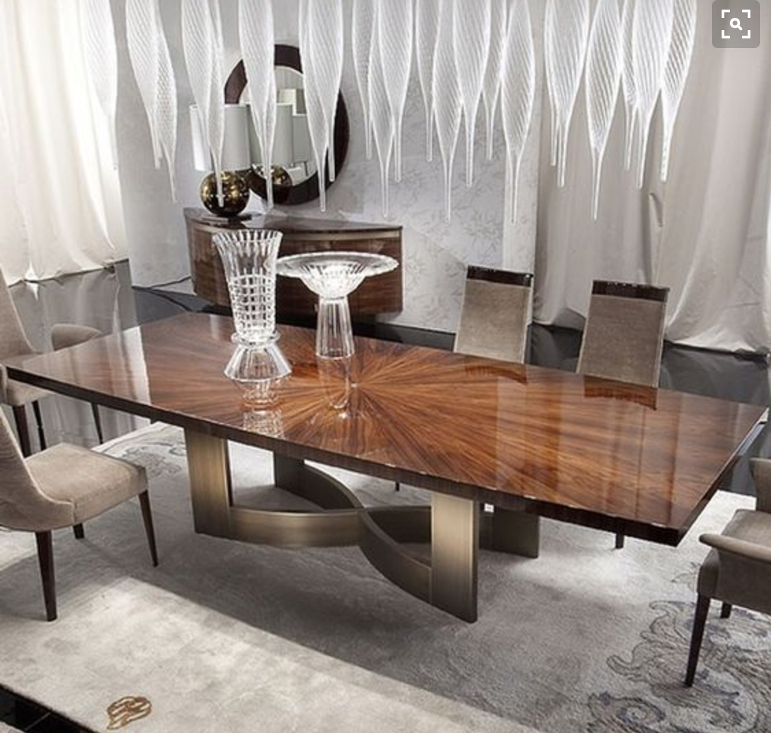 Contemporary Dining Room Table: DINING ROOM: Dining Table Sunburst Detail (Reference) In