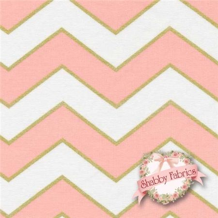 "Glitz 5709-BLUS Blush By Michael Miller Fabrics: Glitz is a modern collection by Michael Miller Fabrics. 100% cotton. 43/44"" wide. This fabric features thick chevrons in vivid pink and off-white, and a thin chevron in metallic gold."