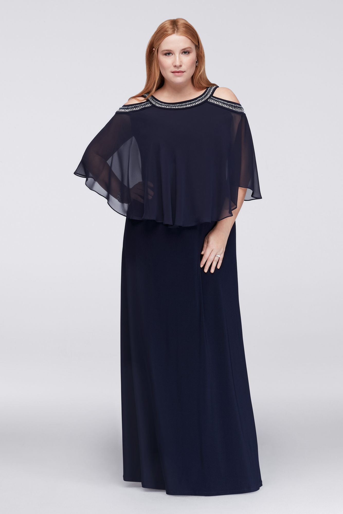 a59c83cf6f7 Cold Shoulder Capelet Plus Size Dress with Beading David s ...