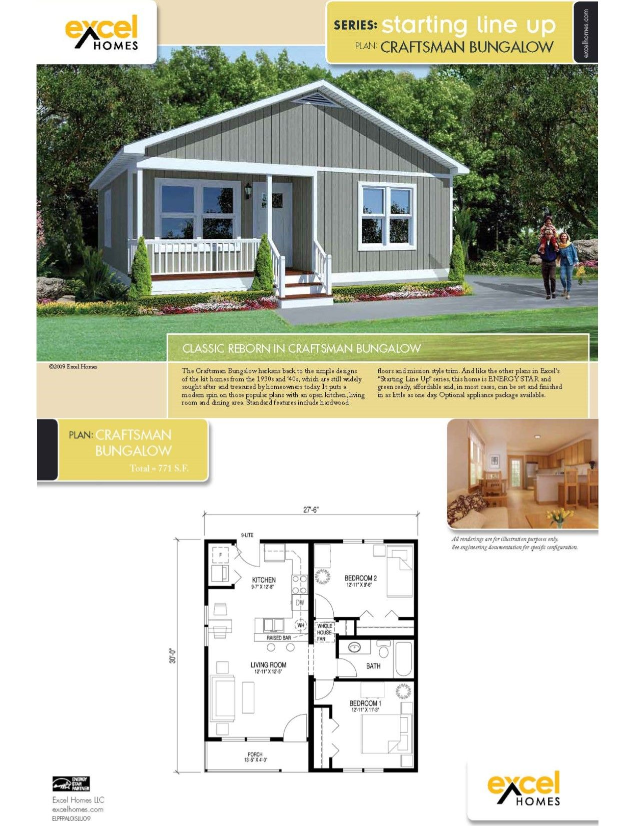 The Craftsman Bungalow Ranch Style Home 771 square feet 2 bedrooms ...