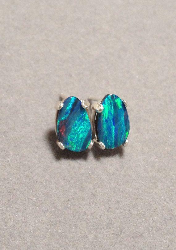 Australian Black Opal Earrings Genuine Sterling Silver Doublet Opalsaustralia