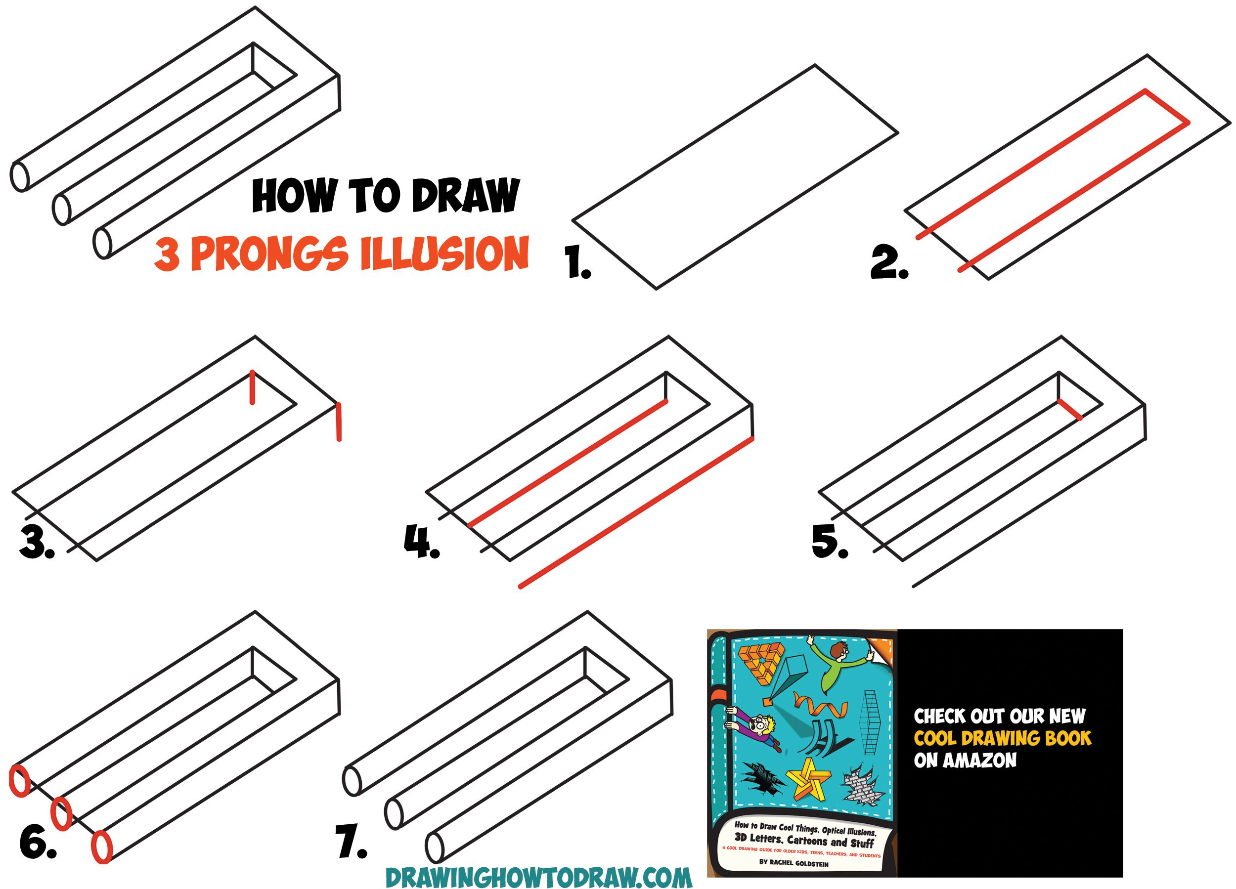illusions optical illusion draw step easy drawing shapes prongs drawings 3d tutorial impossible simple prong trick cool fork beginners pencil