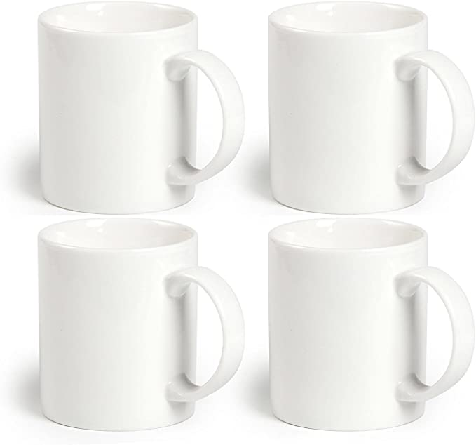 Amazon Com Momugs 12 Oz Cup 4pcs Plain Gloss White Ceramic Coffee Mug For Milk Tea Set Of 4 Kitchen Dining White Tea Cups Mugs Milk Tea