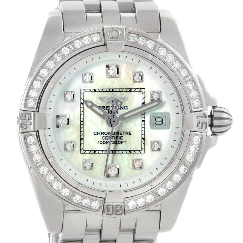 Breitling Windrider Cockpit Ladies MOP Diamond Watch A71356