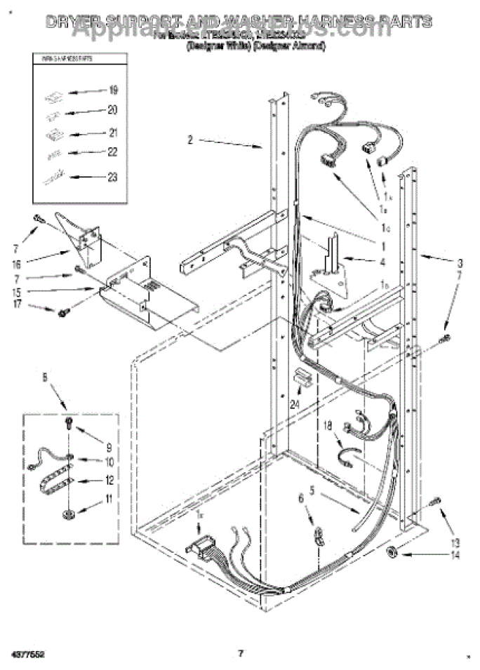 Parts for Whirlpool LTE6234DQ0: Dryer Support and Washer