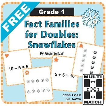 free multi match game cards fact families for doubles this rh pinterest com