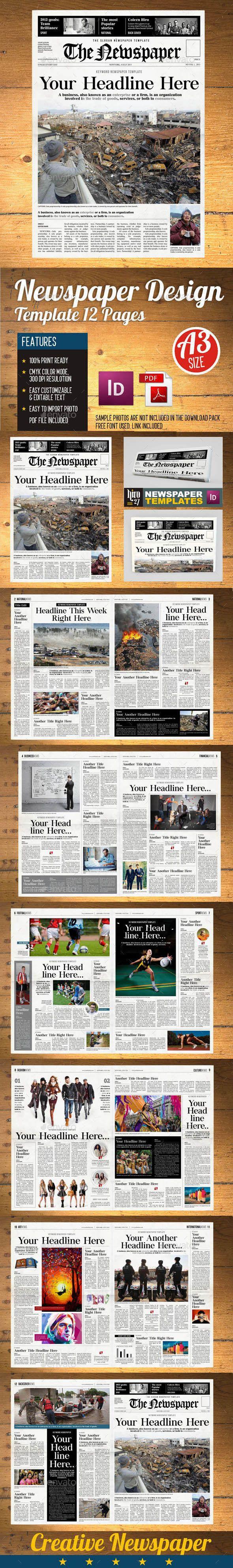 Newspaper (12 page) template (vol2) | Diseño editorial y Editorial