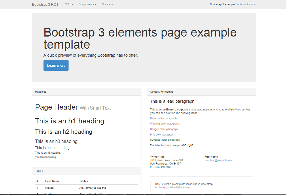 Bootstrap  Elements Page Example Template  Bootstrap