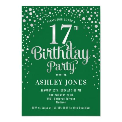 17th Birthday Party - Green & Silver Invitation | Zazzle.com #17thbirthday