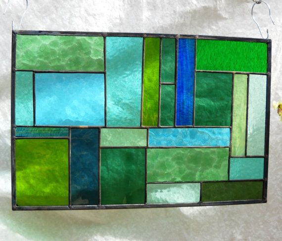 Shades Of Green Patchwork Quilt Stained Glass Panel