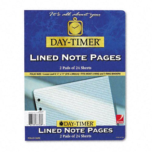 Day-Timer 87328 Lined Pages, 8 1\/2 x 11 Add extra writing space to - lined pages for writing
