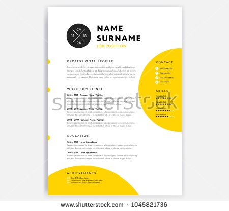 yellow cv resume template curriculum vitae sample vector design with circle background
