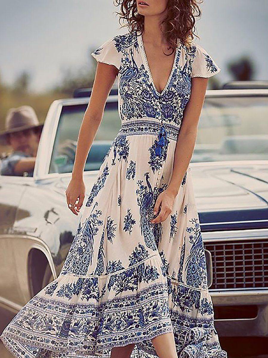 Plus size v neck women blue swing short sleeve slit dress in